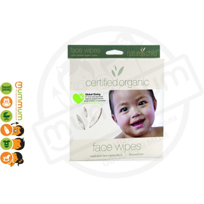 Eco Sprout Child Organic Cotton Face Wipes 2 Pack