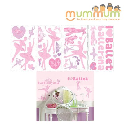 Room Mates Peel and Stick Wall Decals (Ballet Glitter Wall)
