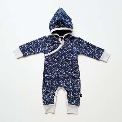 Anarkid Romper Fleece Hooded Ink Navy