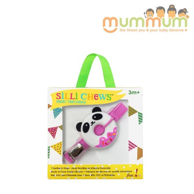 Silli Chews Teether & Strap Pink Panda