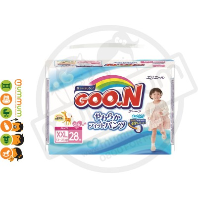 GOO.N Nappy Pants Size XXL 28pcs For Girl 13-25kgs
