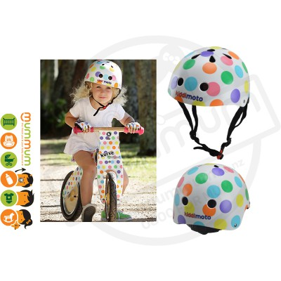 Kiddimoto Adjustable Pastel Dotty Helmet