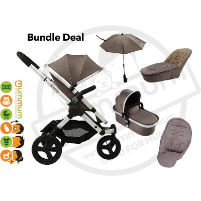 iCandy Peach Jogger Glacier All Terrain Pram Free Carrycot+Parasol+Seatliner+Footmuff Bundle Deal