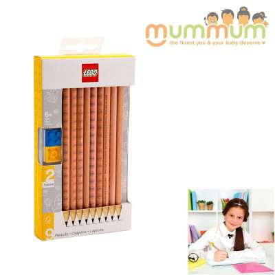 Lego Pencil Graphite With 2 Toppers 9pk