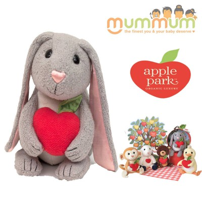 Apple Park Picnic Pal - Bunny - Plush Toy with Rattle