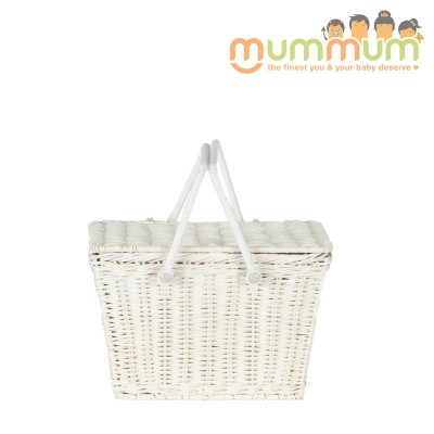 Olli Ella Kids Piki Picnic Basket White@ETA 28th April