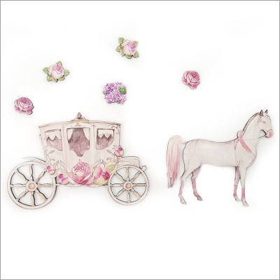 Crystal Ashley pine wall art horse and carriage