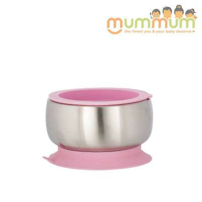 Avanchy stainless steel suction bowl pink