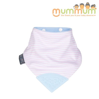 Cheeky Chompers Neckerchew Cool Chic ( pink stripe with blue teether)