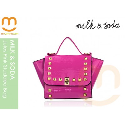 Milk & Soda Jules Studded Patent Leather Bag Pink