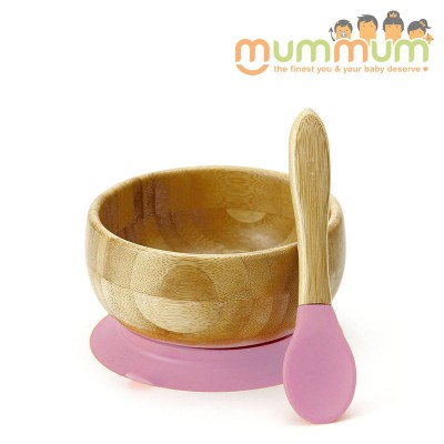 Avanchy bamboo baby suction bowl & spoon pink