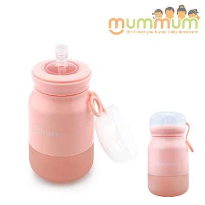 Haakaa Silicone Sippy Bottle Pink with straw 350ml Soft bottle
