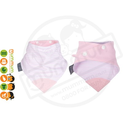 Cheeky Chompers Neckerchew Teething Bib Pink White Stripe Cool Pink