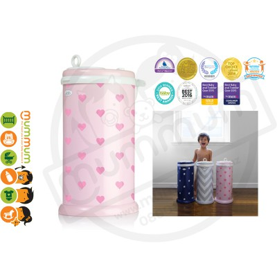 Ubbi Powdered Steel Diaper Pail - Light Pink With Hearts, Limited Edition