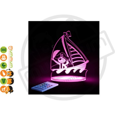 Aloka Night Light Pirate Ship Multi Colour With Remote Control