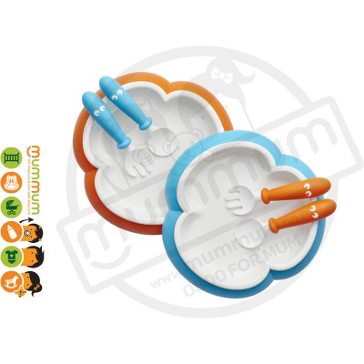 BabyBjorn Baby Plate, Spoon and Fork Set Turquoise/Orange 2pack