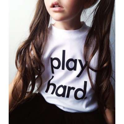 Nor Folk T Play Hard White Children Made in UK