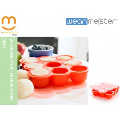 Wean Meister Silicone Freezer Pod  Pink Tray Muffin Baking Tray w/ith Lid
