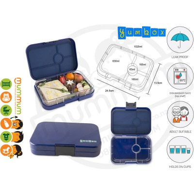 Yumbox 4 compartment Tapas Portofino Blue Lunchbox