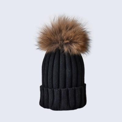 Amelia Jane London Black Hat with Brown Fur Pom Pom Kids-Adult Single Pom Pom