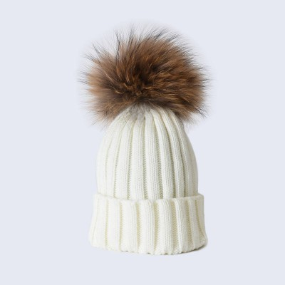 Amelia Jane London Ivory Hat with Brown Fur Pom Pom Kids-Adult Single Pom Pom