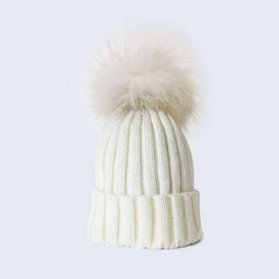 Amelia Jane London Ivory Hat with White Fur Pom Pom Kids- Adult Single Pom Pom