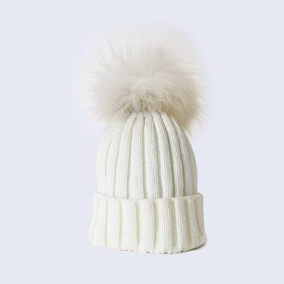 Amelia Jane London Ivory Hat with White Fur Pom Pom Kids Single Pom Pom