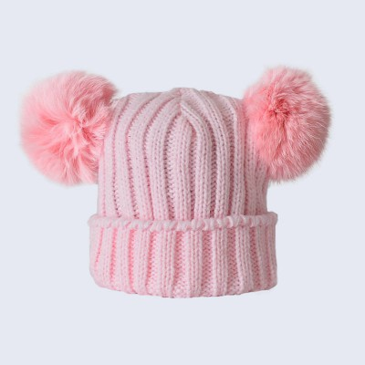 Amelia Jane London Tiny Tots Pink Double Fur Pom Pom Hat