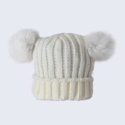 Amelia Jane London Tiny Tots Ivory Double Fur Pom Pom Hat