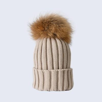 Amelia Jane London Oatmeal Hat with Brown Fur Pom Pom Adult Single Pom Pom