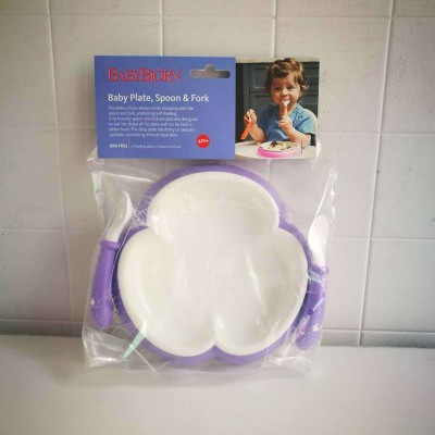 BabyBjorn 3-leaf shape Plate and Spoon Fork Set Purple