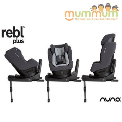 Nuna REBL Plus (Slate) 360° Rotating Swivel Carseat ISOFIX From Newborn Up to 4Y
