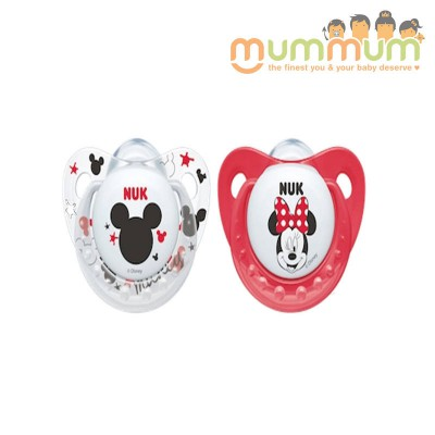 Nuk Latex Soother Size 1, 0-6months - Mickey Design, Red & White Colour