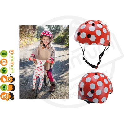 Kiddimoto Adjustable Red Dotty Helmet