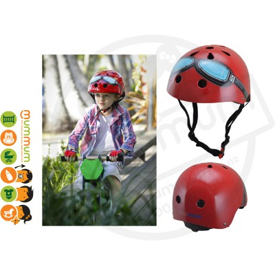 Kiddimoto Adjustable Red Goggle Helmet