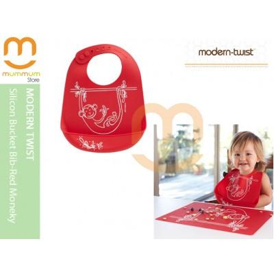 Modern Twist Silicon Bucket Bib Red Monkey