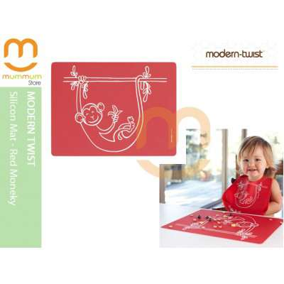 Modern Twist Silicon Meal Mat Monkey Business Red