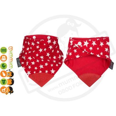 Cheeky Chompers Neckerchew Teething Bib Red Stars
