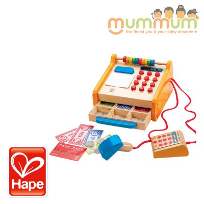 Hape Wooden Checkout Register with Play Money and Abacus