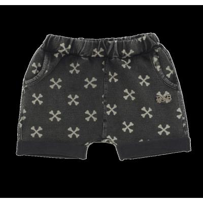 Rock Your Baby Cross Bone Baby Shorts Charcoal Wash