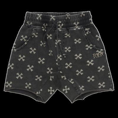 Rock Your Kid Cross Bone Shorts Charcoal Wash