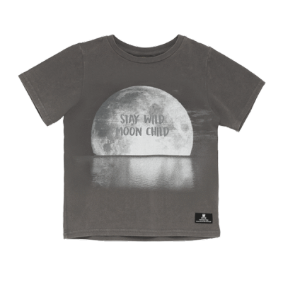 Rock your baby Stay Wild ss T shirt Charcoal Wash