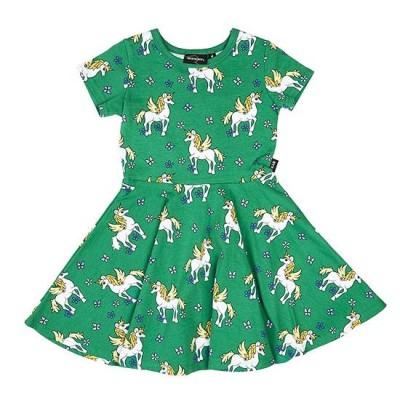 Rock Your Kid unicorn waisted dress leaf green 7Y 8Y
