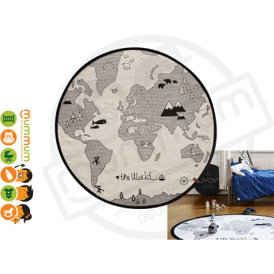 OYOY Round Rug The world Black & Off White Cotton