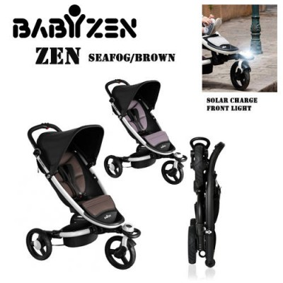 Babyzen Zen Stroller Seafog/Brown With Solar Charged Front light Floor Display