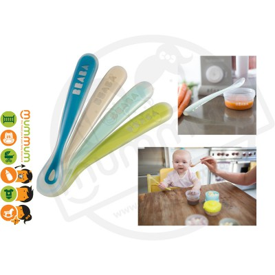 Beaba Silicone Ergonomic 1st Age Feeding Spoon 4 pack Mint/blue/nude/yellow