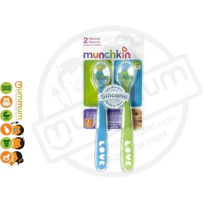 Munchkin 2 Soft Silicon Feeding Spoons Blue&Green
