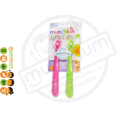 Munchkin 2 Soft Silicon Feeding Spoons Pink&Green