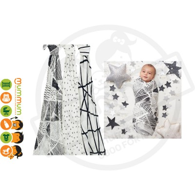 Aden and Anais Silky Soft Swaddles Midnight 3pack