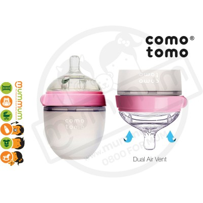 Comotomo Squeezy Silicon Soft Baby Bottle 150ml Pink